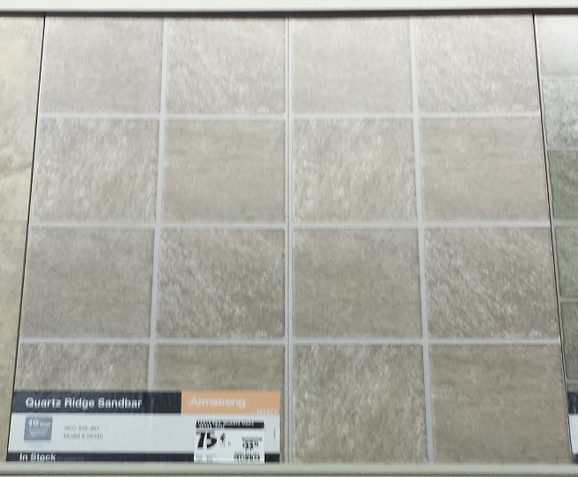 Floor tile as cheap back splash for Cheap vinyl floor tiles