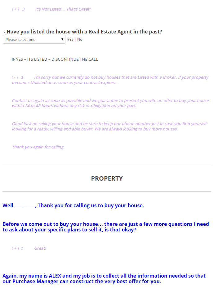 Inbound Call Script – Offer to Purchase Real Estate Form