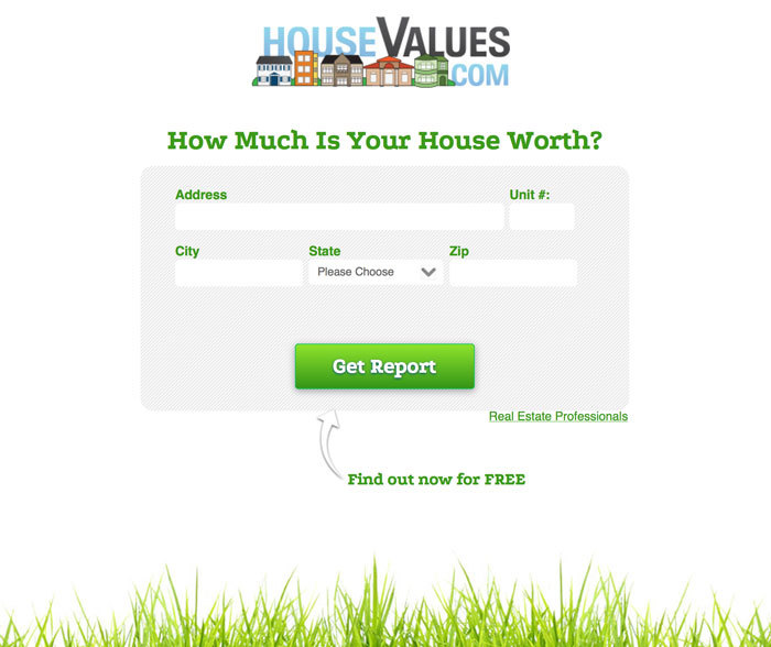 House Values Collects Leads in Return For A Property Value Report