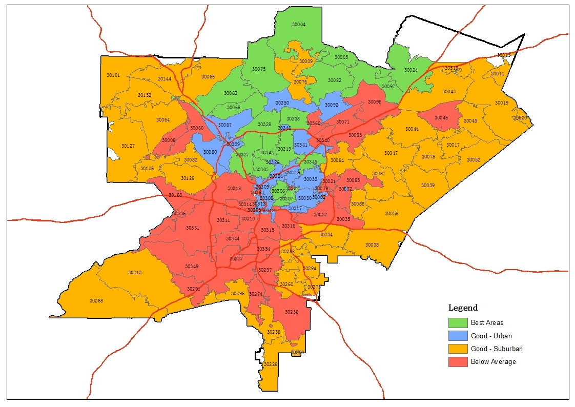 Map Based Zip Code Study For Atlanta Area