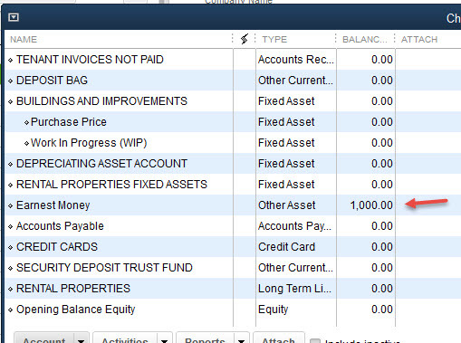 Quickbooks Earnest Money Deposit Lost
