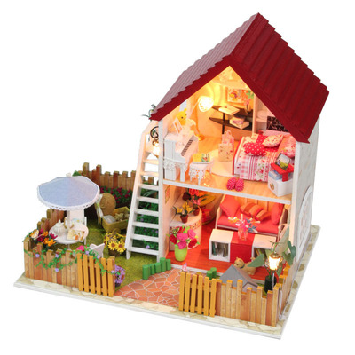 Small 1401499691 2013 Diy Wooden Miniature Furniture Doll Font B House B Font With Garden Mini Vila Doll